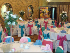 Banquet hall decoration for various occasions Weddings,Birthdays Party, Family receptions,Quinceañeras,Cotillions,Communions. Lot of colors to choose from.Good prices and tasty food.