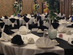 Chicago Banquet Hall with classic look black and white decoration for your wedding, quinceanera, family receptions