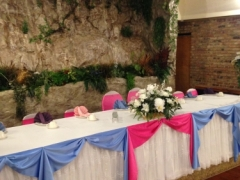Hot Pink, light blue and white decoration for Weddings, Christenings, Cotillions/Quinceaneras, first communion, a birthday party, sweet 16 @ Royalty East Banquet Hall