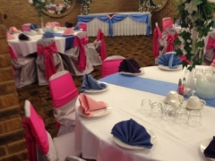 Hot pink, light blue, purple and white decoration for Weddings, Christenings, Cotillions/Quinceaneras and sweet 16