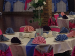 Hot pink, light blue, purple and white decoration in wedding venue