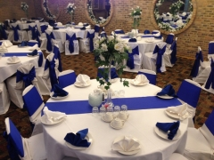 royal blue and white wedding decorations in Chicago