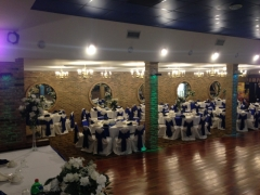 Royal blue and white wedding decorations in Royalty East Banquet Hall                        Chicago