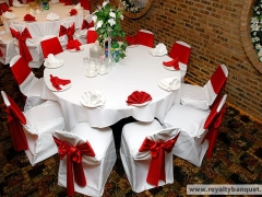 Chair covers, ribbons and napkins, decorations in the Banquet Hall in Chicago