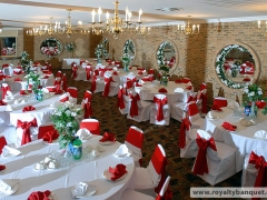 Nice banquet hall in red and white decoration