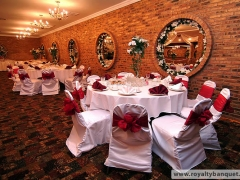 Beautifully decorated interior for your wedding reception in Royalty East Banquet Hall in Chicago