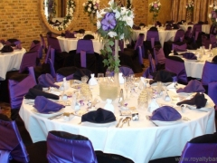 The Banquet room, decorated in purple on the occasion of the birthday party of Mexican  Quinceaneras, XV Anos, Bodas  in Chicago IL. 60629 Royalty East Banquet Hall