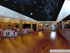 Huge dance floor under the starry ceiling at the banquet room, perfect for your party